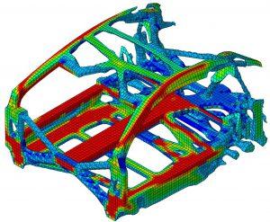 Figure 3: Topological Structural Optimisation of a Mid-engine Sports car Showing Strain Distribution after Application of Crash Loading